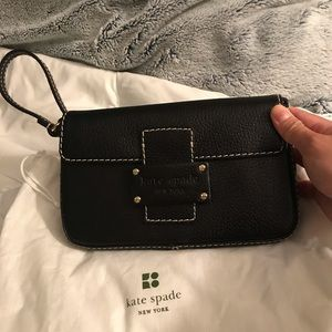 Preowned leather shoulder/wristlet bag